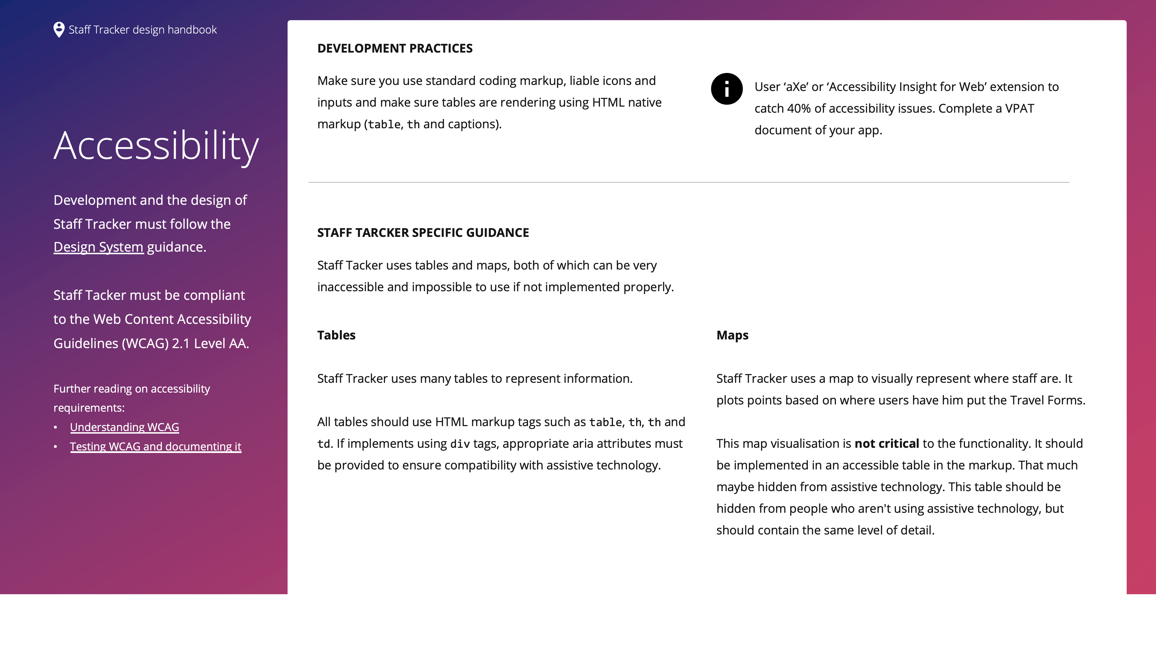 An image from Design Handbook, containing information about Accessibility considerations and Best Practices.